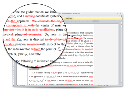 Example of proofreading a document